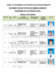 Bahawalpur Board position holders 2019
